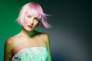 icono Collection 2018 Trends Hairfashion Academy Look pastel pink yellow blond Choppy Fringe