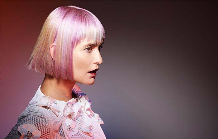 Pink Hair Light Pink Choppy Bob