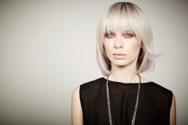 Silver White Hair Root Shading icono Hair Fashion Long Bob Textured Fringe Curtain Bangs